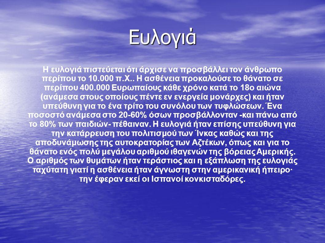 Ευλογιά Η ευλογιά πιστεύεται ότι άρχισε να προσβάλλει τον άνθρωπο περίπου το 10.000 π.Χ.. Η ασθένεια προκαλούσε το θάνατο σε περίπου 400.000 Ευρωπαίου