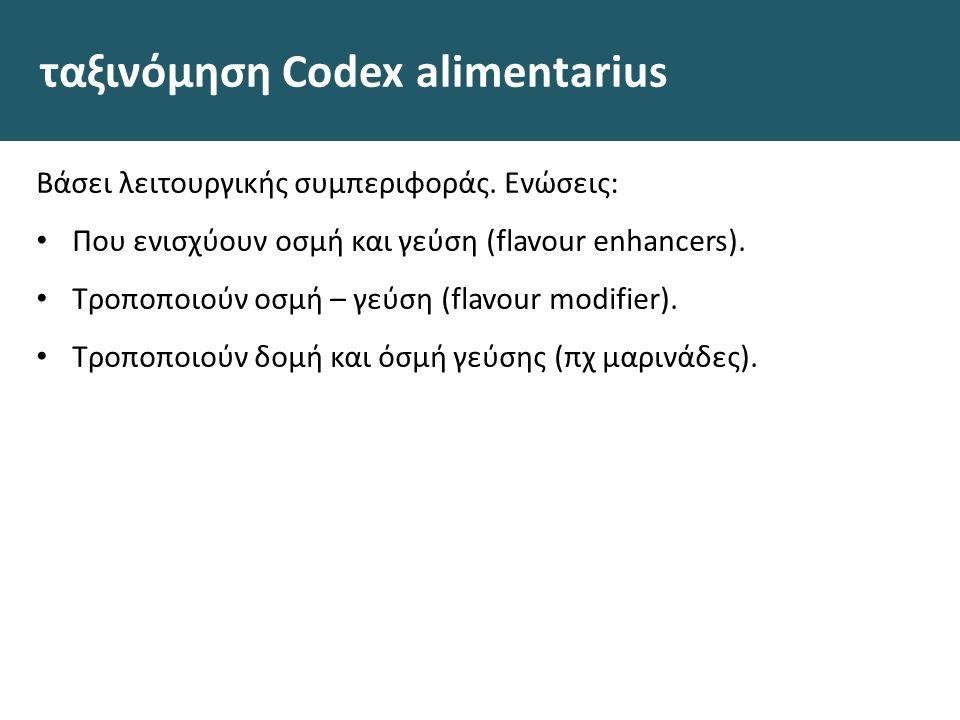 ταξινόμηση Codex alimentarius Βάσει λειτουργικής συμπεριφοράς. Ενώσεις: Που ενισχύουν οσμή και γεύση (flavour enhancers). Τροποποιούν οσμή – γεύση (fl