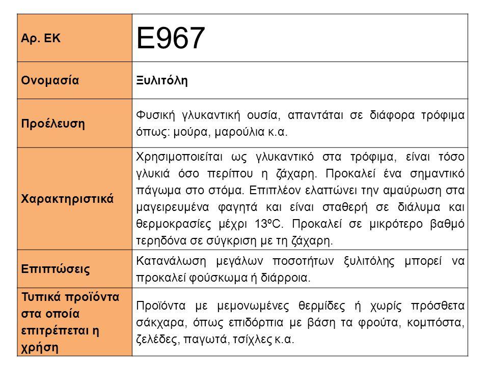 Αρ. ΕΚ Ε967 ΟνομασίαΞυλιτόλη Προέλευση Φυσική γλυκαντική ουσία, απαντάται σε διάφορα τρόφιμα όπως: μούρα, μαρούλια κ.α. Xαρακτηριστικά Χρησιμοποιείται