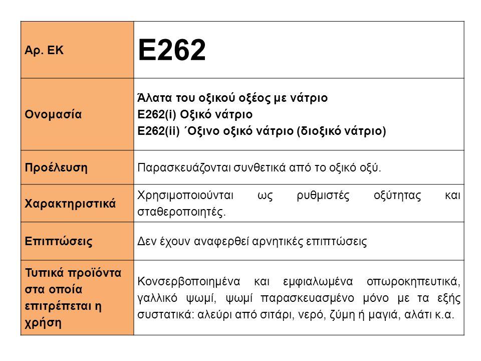Αρ. ΕΚ Ε262 Ονομασία Άλατα του οξικού οξέος με νάτριο E262(i) Οξικό νάτριο Ε262(ii) ΄Οξινο οξικό νάτριο (διοξικό νάτριο) ΠροέλευσηΠαρασκευάζονται συνθ