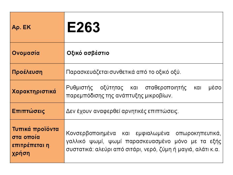 Αρ. ΕΚ Ε263 ΟνομασίαΟξικό ασβέστιο ΠροέλευσηΠαρασκευάζεται συνθετικά από το οξικό οξύ. Xαρακτηριστικά Ρυθμιστής οξύτητας και σταθεροποιητής και μέσο π