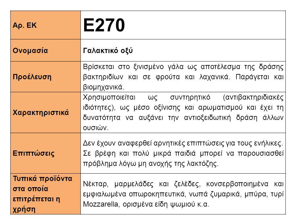 Αρ. ΕΚ Ε270 ΟνομασίαΓαλακτικό οξύ Προέλευση Βρίσκεται στο ξινισμένο γάλα ως αποτέλεσμα της δράσης βακτηριδίων και σε φρούτα και λαχανικά. Παράγεται κα