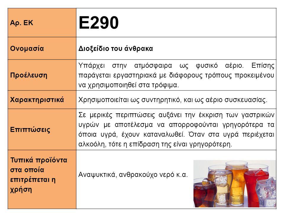 Αρ.ΕΚ Ε290 ΟνομασίαΔιοξείδιο του άνθρακα Προέλευση Υπάρχει στην ατμόσφαιρα ως φυσικό αέριο.