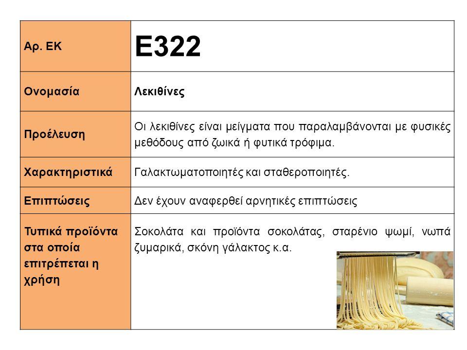 Αρ. ΕΚ Ε322 ΟνομασίαΛεκιθίνες Προέλευση Οι λεκιθίνες είναι μείγματα που παραλαμβάνονται με φυσικές μεθόδους από ζωικά ή φυτικά τρόφιμα. Xαρακτηριστικά