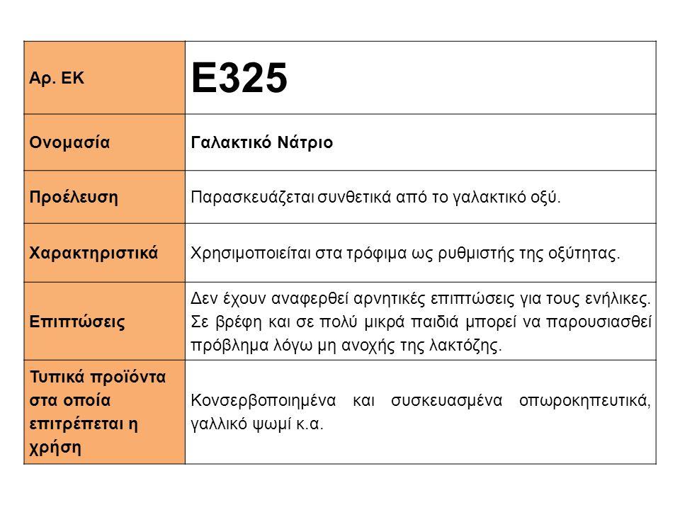 Αρ. ΕΚ Ε325 ΟνομασίαΓαλακτικό Νάτριο ΠροέλευσηΠαρασκευάζεται συνθετικά από το γαλακτικό οξύ. XαρακτηριστικάΧρησιμοποιείται στα τρόφιμα ως ρυθμιστής τη
