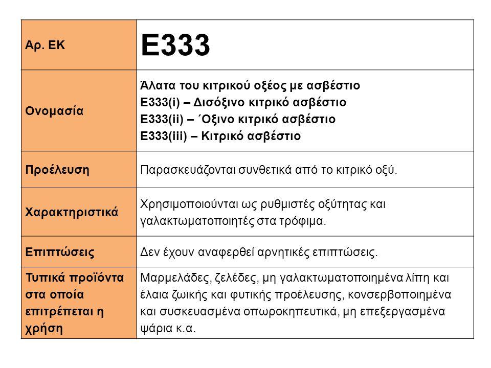 Αρ. ΕΚ E333 Ονομασία Άλατα του κιτρικού οξέος με ασβέστιο Ε333(i) – Δισόξινο κιτρικό ασβέστιο Ε333(ii) – ΄Oξινο κιτρικό ασβέστιο Ε333(iii) – Kιτρικό α