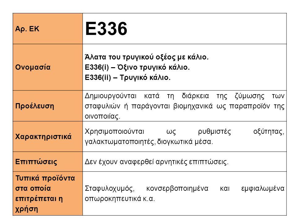 Αρ. ΕΚ E336 Ονομασία Άλατα του τρυγικού οξέος με κάλιο. Ε336(i) – Όξινο τρυγικό κάλιο. Ε336(ii) – Tρυγικό κάλιο. Προέλευση Δημιουργούνται κατά τη διάρ