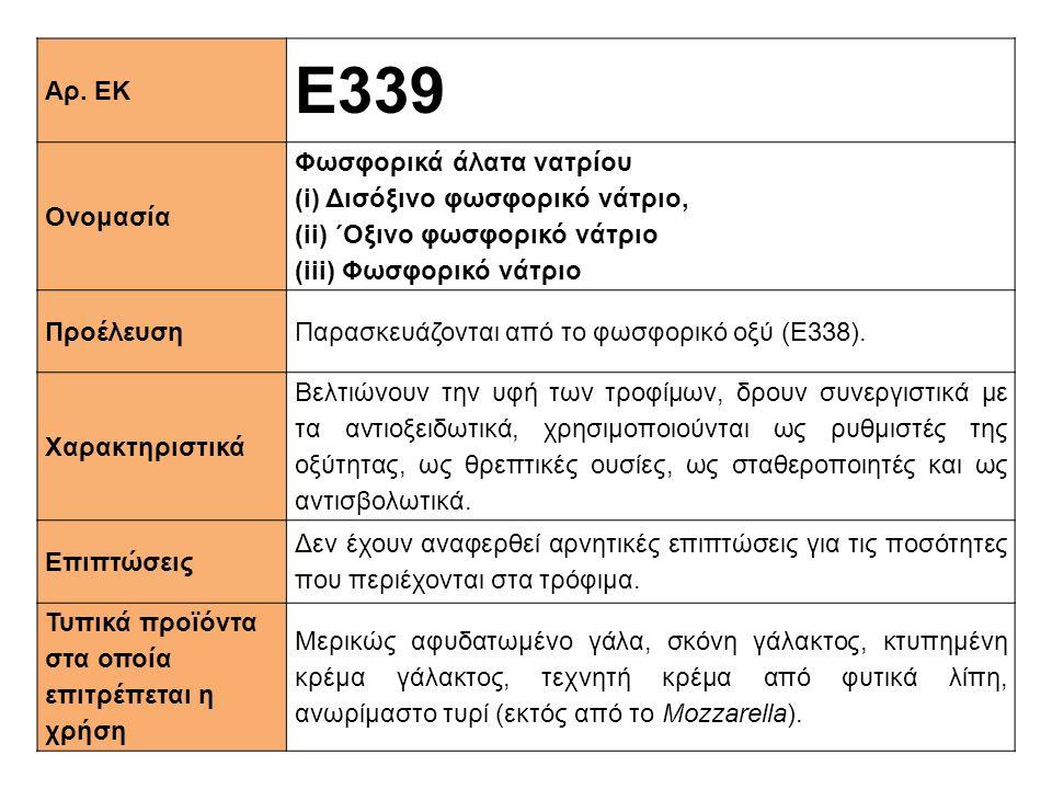 Αρ. ΕΚ Ε339 Ονομασία Φωσφορικά άλατα νατρίου (i) Δισόξινο φωσφορικό νάτριο, (ii) ΄Oξινο φωσφορικό νάτριο (iii) Φωσφορικό νάτριο ΠροέλευσηΠαρασκευάζοντ