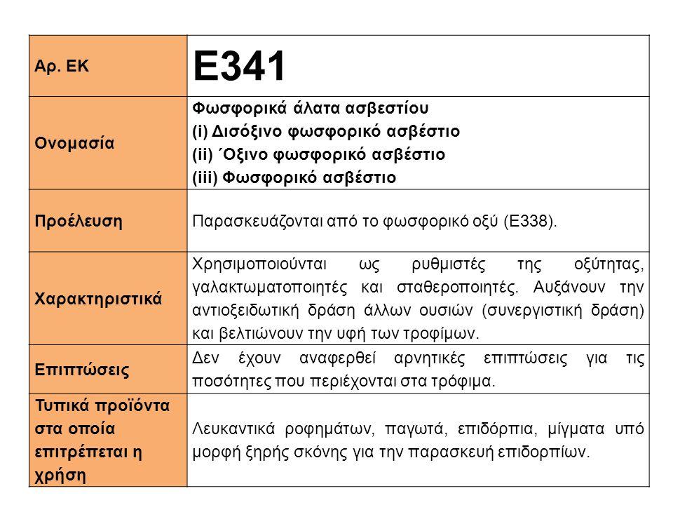 Αρ. ΕΚ Ε341 Ονομασία Φωσφορικά άλατα ασβεστίου (i) Δισόξινο φωσφορικό ασβέστιο (ii) ΄Oξινο φωσφορικό ασβέστιο (iii) Φωσφορικό ασβέστιο ΠροέλευσηΠαρασκ