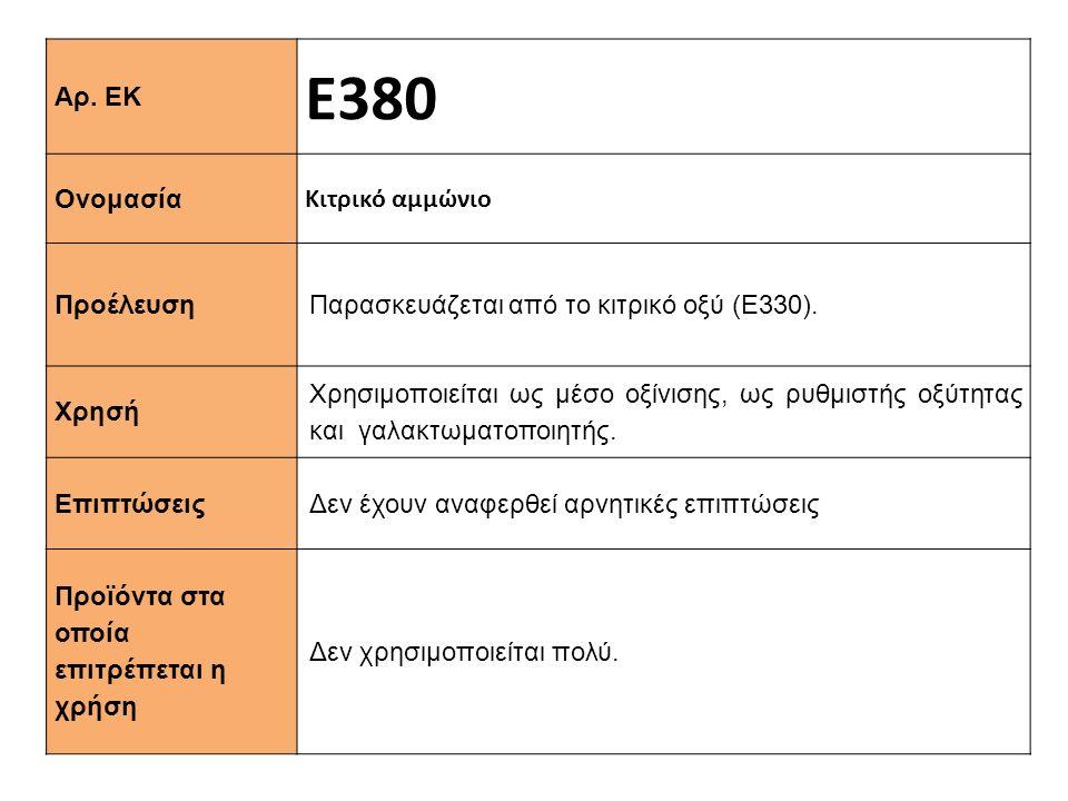 Αρ. ΕΚ Ε380 Ονομασία Κιτρικό αμμώνιο Προέλευση Παρασκευάζεται από το κιτρικό οξύ (Ε330). Xρησή Χρησιμοποιείται ως μέσο οξίνισης, ως ρυθμιστής οξύτητας