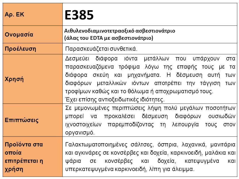 Αρ. ΕΚ Ε385 Ονομασία Αιθυλενοδιαμινοτετραοξικό ασβεστιονάτριο (άλας του EDTA με ασβεστιονάτριο) Προέλευση Παρασκευάζεται συνθετικά. Xρησή Δεσμεύει διά