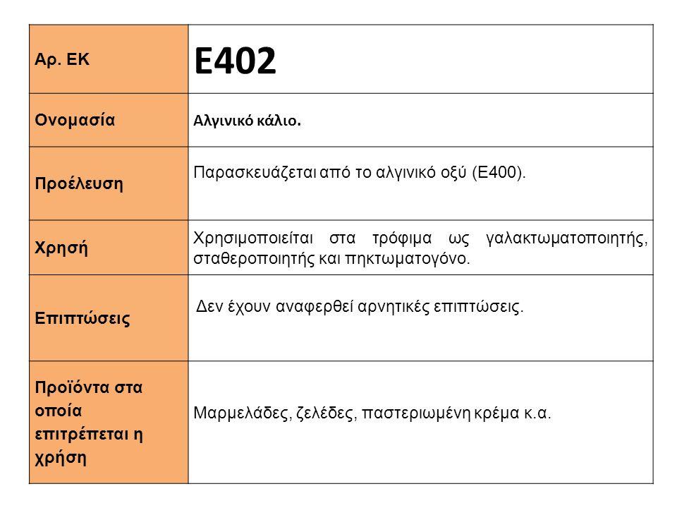 Αρ. ΕΚ Ε402 Ονομασία Αλγινικό κάλιο. Προέλευση Παρασκευάζεται από το αλγινικό οξύ (Ε400). Xρησή Χρησιμοποιείται στα τρόφιμα ως γαλακτωματοποιητής, στα