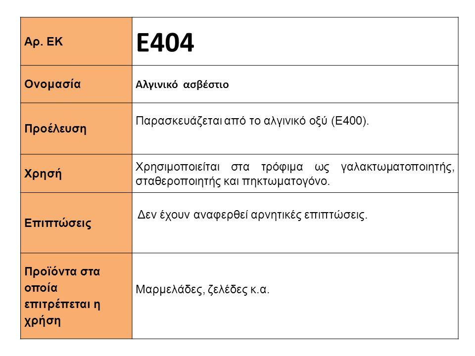 Αρ. ΕΚ Ε404 Ονομασία Αλγινικό ασβέστιο Προέλευση Παρασκευάζεται από το αλγινικό οξύ (Ε400). Xρησή Χρησιμοποιείται στα τρόφιμα ως γαλακτωματοποιητής, σ