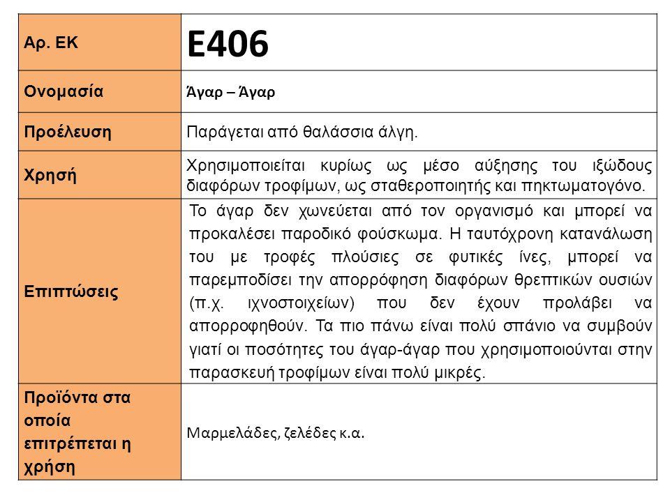Αρ. ΕΚ Ε406 Ονομασία Άγαρ – Άγαρ Προέλευση Παράγεται από θαλάσσια άλγη. Xρησή Χρησιμοποιείται κυρίως ως μέσο αύξησης του ιξώδους διαφόρων τροφίμων, ως