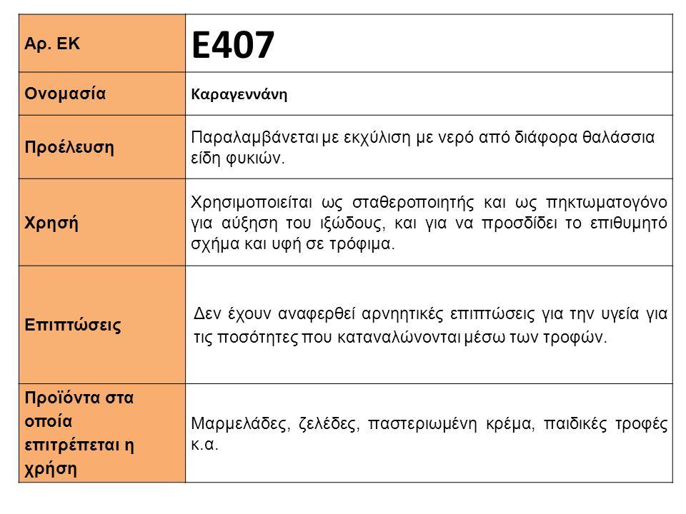 Αρ. ΕΚ Ε407 Ονομασία Καραγεννάνη Προέλευση Παραλαμβάνεται με εκχύλιση με νερό από διάφορα θαλάσσια είδη φυκιών. Xρησή Χρησιμοποιείται ως σταθεροποιητή
