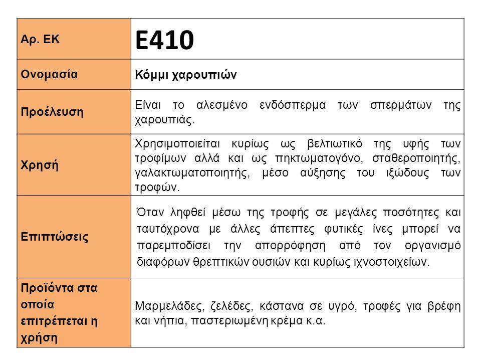 Αρ. ΕΚ Ε410 Ονομασία Κόμμι χαρουπιών Προέλευση Είναι το αλεσμένο ενδόσπερμα των σπερμάτων της χαρουπιάς. Xρησή Xρησιμοποιείται κυρίως ως βελτιωτικό τη