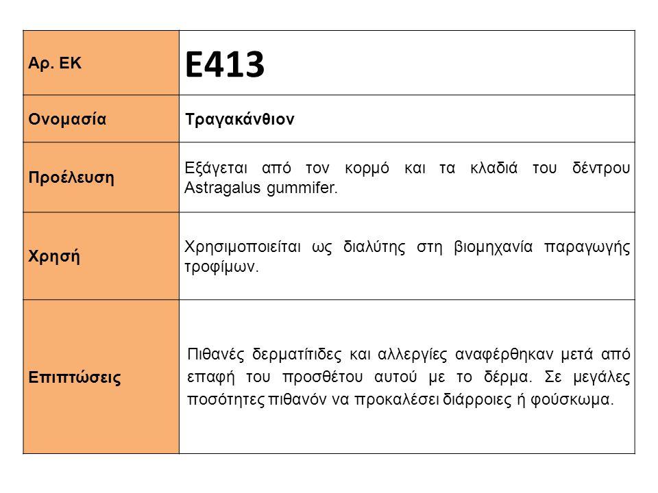 Αρ. ΕΚ Ε413 Ονομασία Τραγακάνθιον Προέλευση Εξάγεται από τον κορμό και τα κλαδιά του δέντρου Astragalus gummifer. Xρησή Χρησιμοποιείται ως διαλύτης στ
