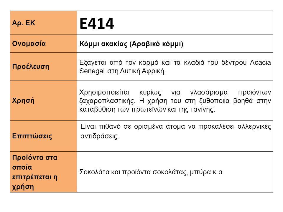 Αρ. ΕΚ Ε414 Ονομασία Κόμμι ακακίας (Αραβικό κόμμι) Προέλευση Εξάγεται από τον κορμό και τα κλαδιά του δέντρου Αcacia Senegal στη Δυτική Αφρική. Xρησή