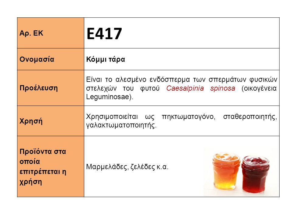 Αρ. ΕΚ Ε417 Ονομασία Κόμμι τάρα Προέλευση Είναι το αλεσμένο ενδόσπερμα των σπερμάτων φυσικών στελεχών του φυτού Caesalpinia spinosa (οικογένεια Legumi