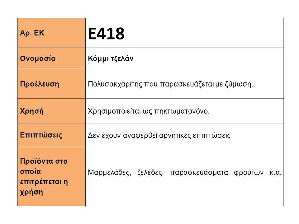Αρ. ΕΚ Ε418 Ονομασία Κόμμι τζελάν Προέλευση Πολυσακχαρίτης που παρασκευάζεται με ζύμωση.. Xρησή Χρησιμοποιείται ως πηκτωματογόνο. Επιπτώσεις Δεν έχουν