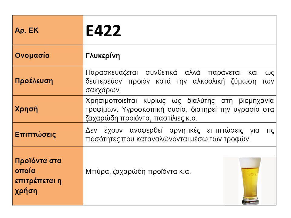 Αρ. ΕΚ Ε422 Ονομασία Γλυκερίνη Προέλευση Παρασκευάζεται συνθετικά αλλά παράγεται και ως δευτερεύον προϊόν κατά την αλκοολική ζύμωση των σακχάρων. Xρησ