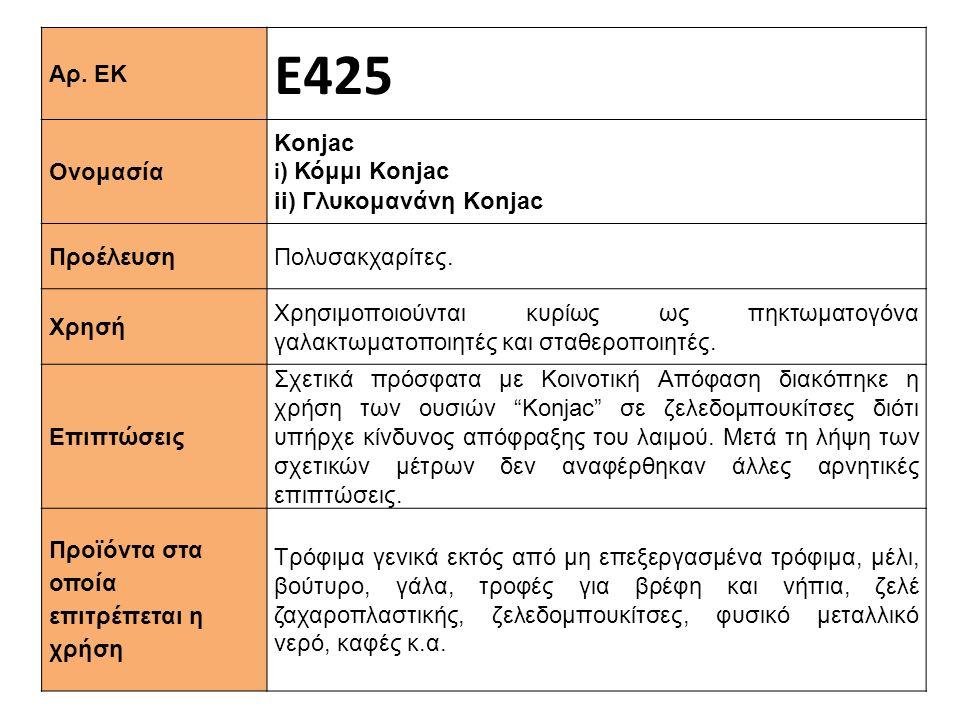 Αρ. ΕΚ Ε425 Ονομασία Κonjac i ) Κόμμι Konjac ii) Γλυκομανάνη Konjac Προέλευση Πολυσακχαρίτες. Xρησή Χρησιμοποιούνται κυρίως ως πηκτωματογόνα γαλακτωμα