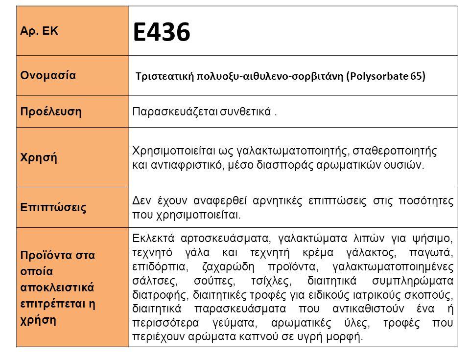 Αρ. ΕΚ Ε436 Ονομασία Τριστεατική πολυοξυ-αιθυλενο-σορβιτάνη (Polysorbate 65) Προέλευση Παρασκευάζεται συνθετικά. Xρησή Χρησιμοποιείται ως γαλακτωματοπ