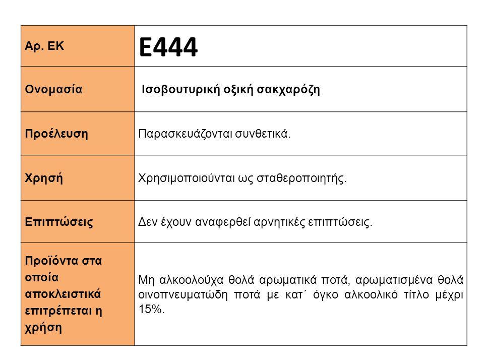 Αρ. ΕΚ Ε444 Ονομασία Ισοβουτυρική οξική σακχαρόζη Προέλευση Παρασκευάζονται συνθετικά. Xρησή Χρησιμοποιούνται ως σταθεροποιητής. Επιπτώσεις Δεν έχουν