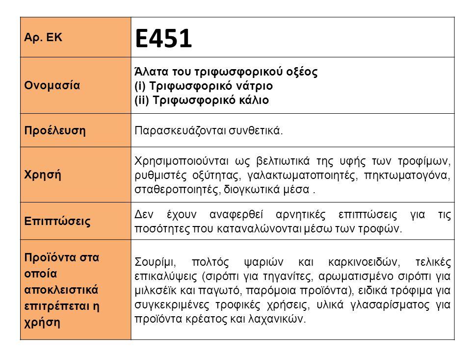 Αρ. ΕΚ Ε451 Ονομασία Άλατα του τριφωσφορικού οξέος (i) Tριφωσφορικό νάτριο (ii) Τριφωσφορικό κάλιο Προέλευση Παρασκευάζονται συνθετικά. Xρησή Χρησιμοπ