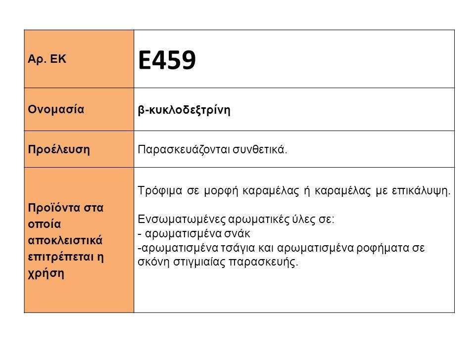 Αρ. ΕΚ Ε459 Ονομασία β-κυκλοδεξτρίνη Προέλευση Παρασκευάζονται συνθετικά. Προϊόντα στα οποία αποκλειστικά επιτρέπεται η χρήση Τρόφιμα σε μορφή καραμέλ