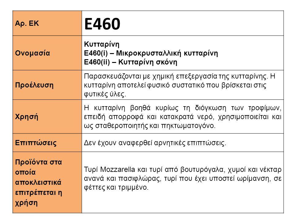 Αρ. ΕΚ Ε460 Ονομασία Κυτταρίνη Ε460(i) – Μικροκρυσταλλική κυτταρίνη Ε460(ii) – Κυτταρίνη σκόνη Προέλευση Παρασκευάζονται με χημική επεξεργασία της κυτ