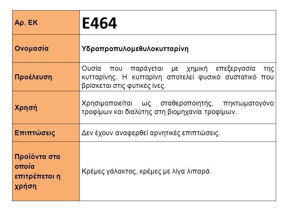 Αρ. ΕΚ Ε464 Ονομασία Υδροπροπυλομεθυλοκυτταρίνη Προέλευση Ουσία που παράγεται με χημική επεξεργασία της κυτταρίνης. Η κυτταρίνη αποτελεί φυσικό συστατ