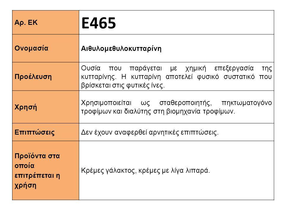 Αρ. ΕΚ Ε465 Ονομασία Αιθυλομεθυλοκυτταρίνη Προέλευση Ουσία που παράγεται με χημική επεξεργασία της κυτταρίνης. Η κυτταρίνη αποτελεί φυσικό συστατικό π