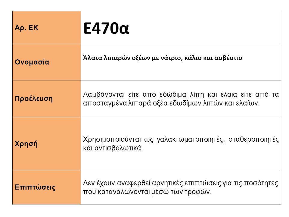 Αρ. ΕΚ Ε470α Ονομασία Άλατα λιπαρών οξέων με νάτριο, κάλιο και ασβέστιο Προέλευση Λαμβάνονται είτε από εδώδιμα λίπη και έλαια είτε από τα αποσταγμένα