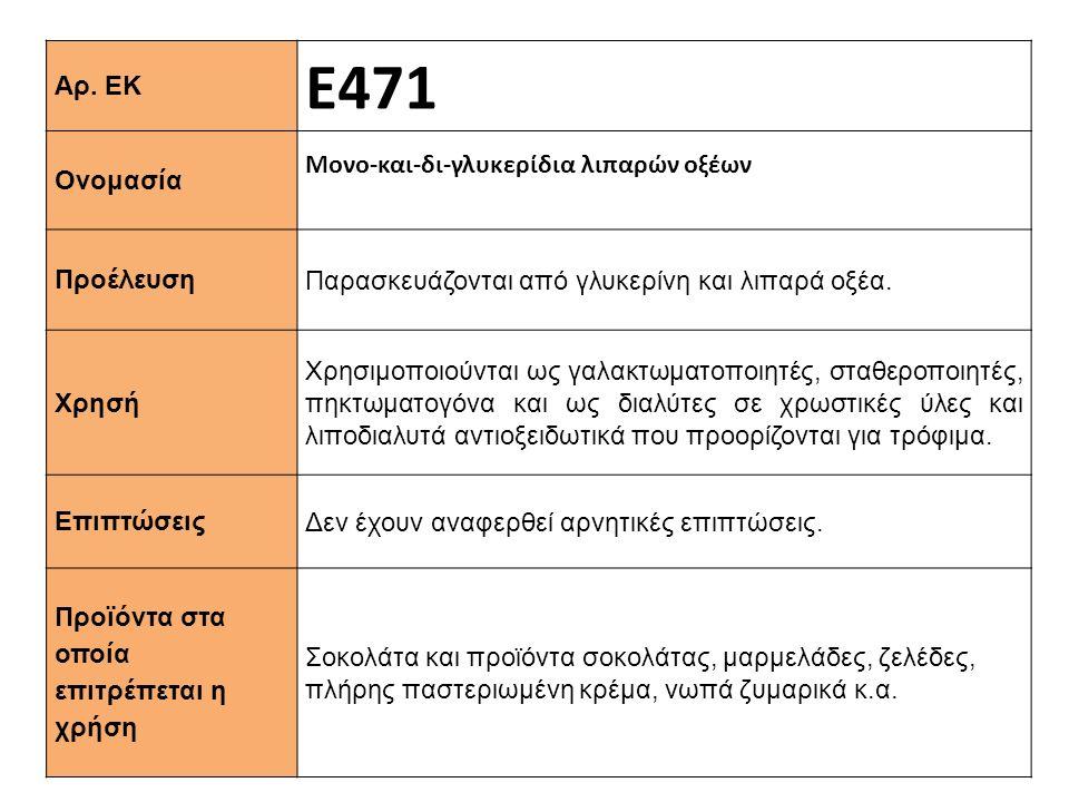 Αρ. ΕΚ Ε471 Ονομασία Μονο-και-δι-γλυκερίδια λιπαρών οξέων Προέλευση Παρασκευάζονται από γλυκερίνη και λιπαρά οξέα. Xρησή Χρησιμοποιούνται ως γαλακτωμα