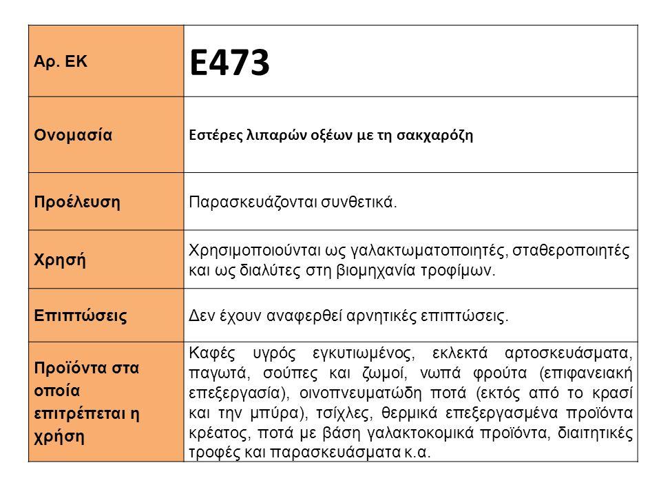 Αρ. ΕΚ Ε473 Ονομασία Εστέρες λιπαρών οξέων με τη σακχαρόζη Προέλευση Παρασκευάζονται συνθετικά. Xρησή Χρησιμοποιούνται ως γαλακτωματοποιητές, σταθεροπ