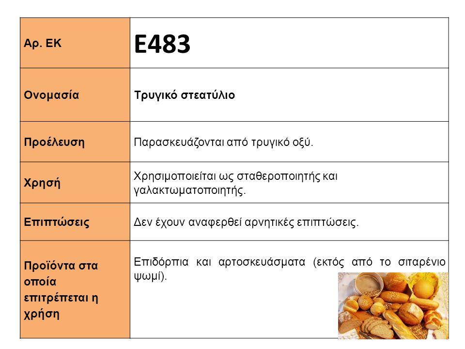 Αρ. ΕΚ Ε483 Ονομασία Τρυγικό στεατύλιο Προέλευση Παρασκευάζονται από τρυγικό οξύ. Xρησή Χρησιμοποιείται ως σταθεροποιητής και γαλακτωματοποιητής. Επιπ