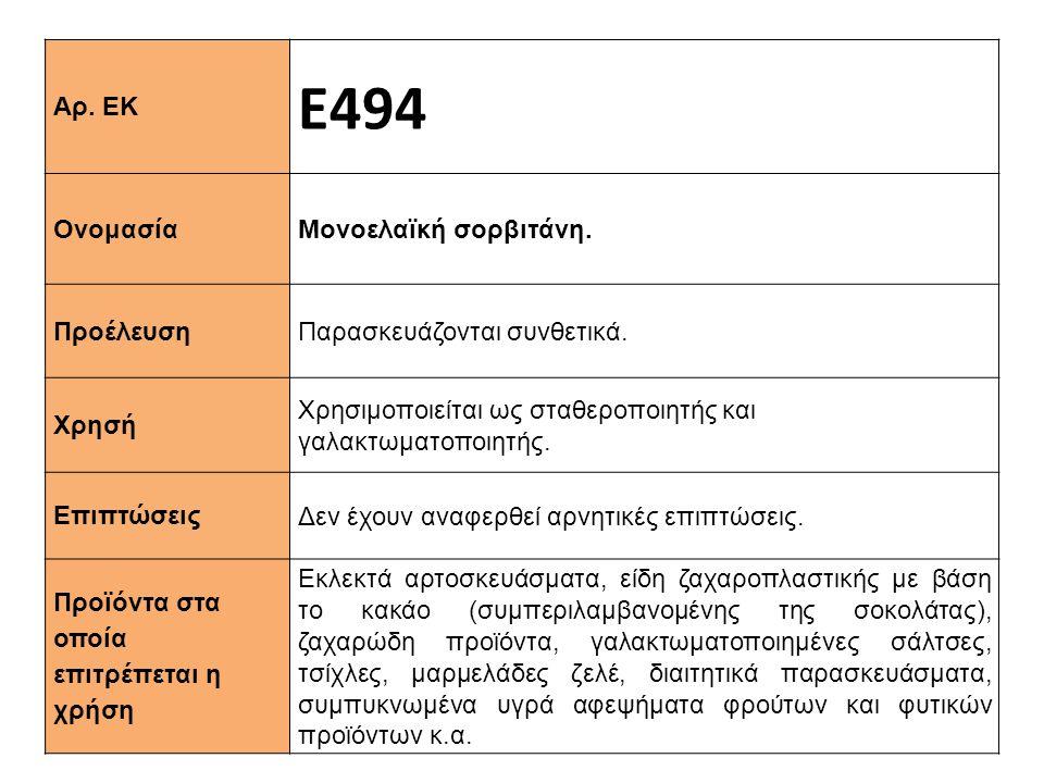 Αρ. ΕΚ Ε494 Ονομασία Μονοελαϊκή σορβιτάνη. Προέλευση Παρασκευάζονται συνθετικά. Xρησή Χρησιμοποιείται ως σταθεροποιητής και γαλακτωματοποιητής. Επιπτώ