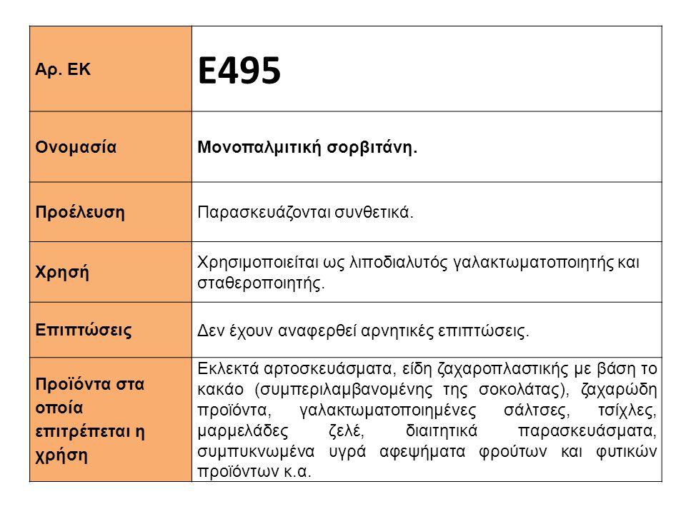 Αρ. ΕΚ Ε495 Ονομασία Μονοπαλμιτική σορβιτάνη. Προέλευση Παρασκευάζονται συνθετικά. Xρησή Χρησιμοποιείται ως λιποδιαλυτός γαλακτωματοποιητής και σταθερ