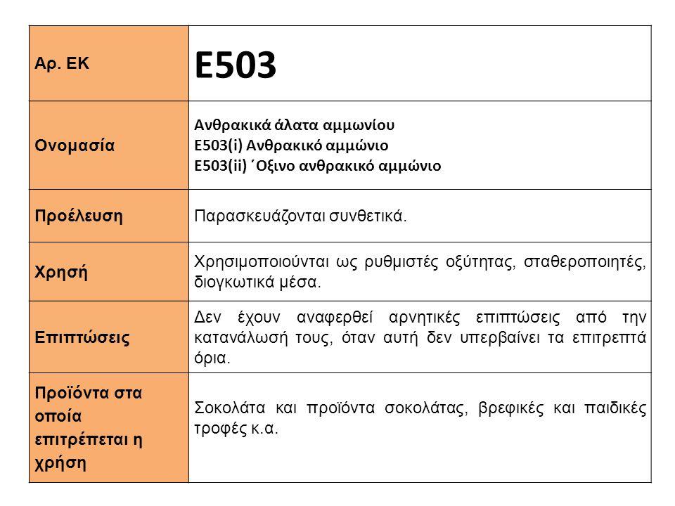 Αρ. ΕΚ Ε503 Ονομασία Ανθρακικά άλατα αμμωνίου Ε503(i) Ανθρακικό αμμώνιο Ε503(ii) ΄Oξινο ανθρακικό αμμώνιο Προέλευση Παρασκευάζονται συνθετικά. Xρησή Χ