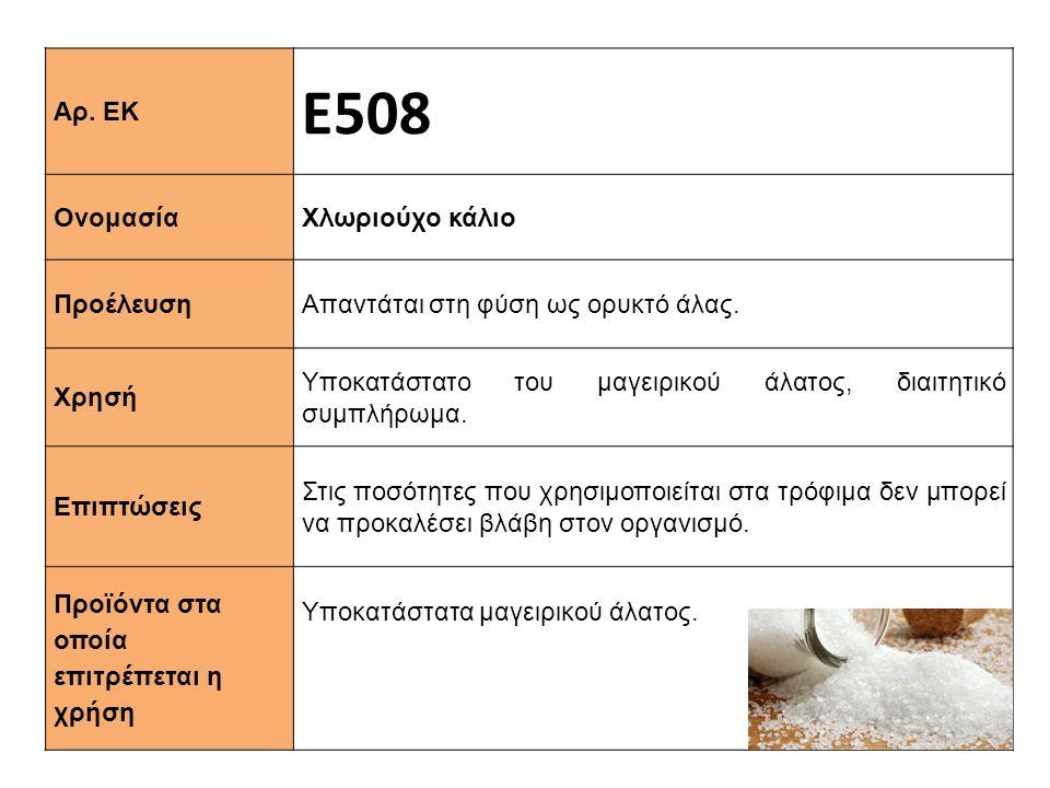 Αρ. ΕΚ Ε508 Ονομασία Χλωριούχο κάλιο Προέλευση Απαντάται στη φύση ως ορυκτό άλας. Xρησή Υποκατάστατο του μαγειρικού άλατος, διαιτητικό συμπλήρωμα. Επι