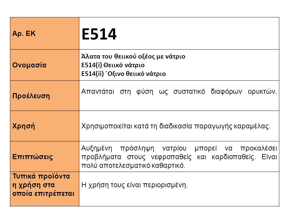 Αρ. ΕΚ Ε514 Ονομασία Άλατα του θειικού οξέος με νάτριο Ε514(i) Θειικό νάτριο Ε514(ii) ΄Oξινο θειικό νάτριο Προέλευση Απαντάται στη φύση ως συστατικό δ