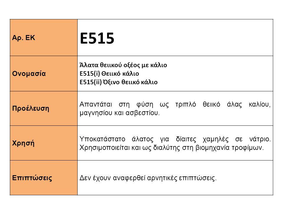 Αρ. ΕΚ Ε515 Ονομασία Άλατα θειικού οξέος με κάλιο Ε515(i) Θειικό κάλιο Ε515(ii) Όξινο θειικό κάλιο Προέλευση Απαντάται στη φύση ως τριπλό θειικό άλας