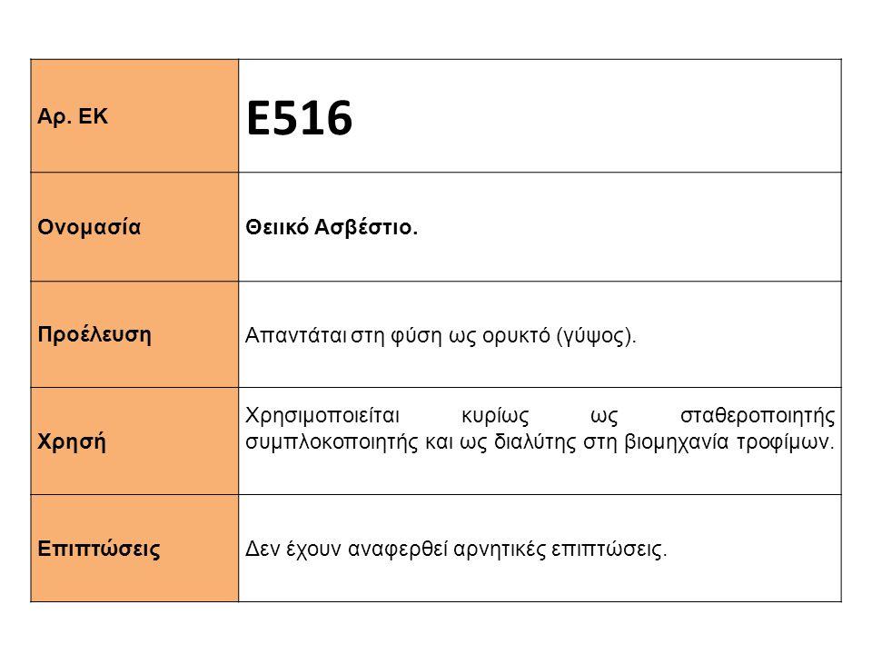 Αρ. ΕΚ Ε516 Ονομασία Θειικό Ασβέστιο. Προέλευση Απαντάται στη φύση ως ορυκτό (γύψος). Xρησή Χρησιμοποιείται κυρίως ως σταθεροποιητής συμπλοκοποιητής κ