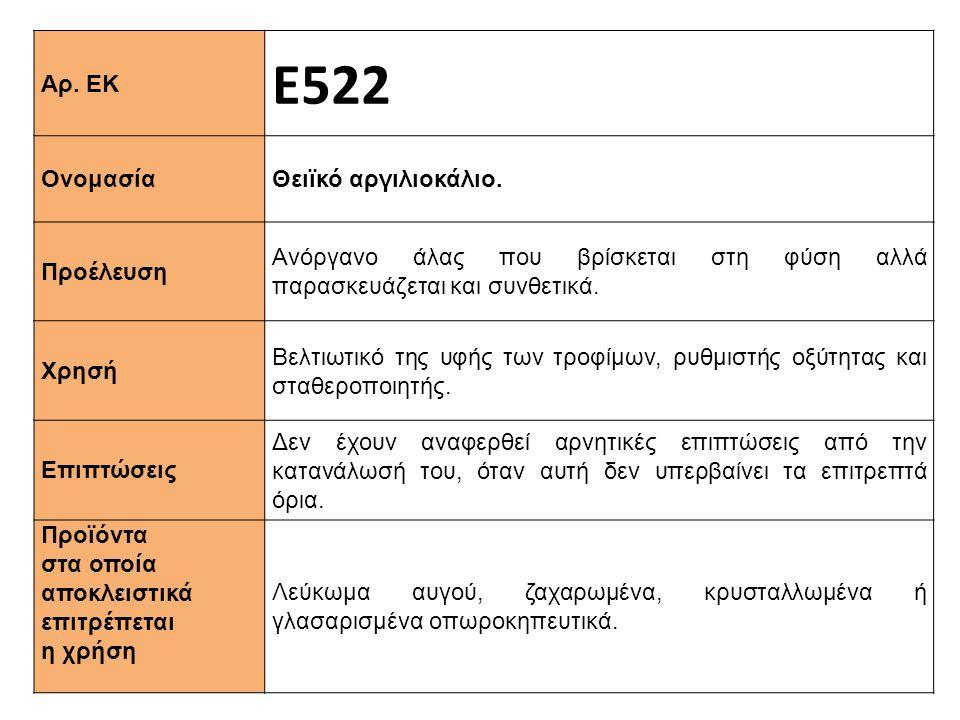 Αρ. ΕΚ Ε522 Ονομασία Θειϊκό αργιλιοκάλιο. Προέλευση Ανόργανο άλας που βρίσκεται στη φύση αλλά παρασκευάζεται και συνθετικά. Xρησή Βελτιωτικό της υφής