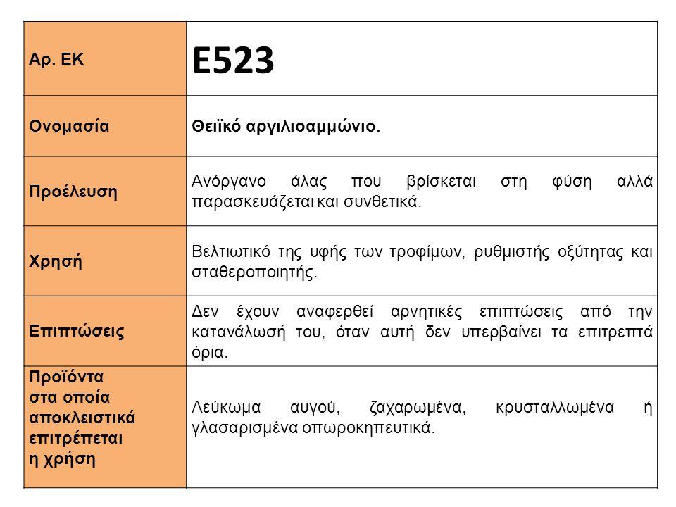 Αρ. ΕΚ Ε523 Ονομασία Θειϊκό αργιλιοαμμώνιο. Προέλευση Ανόργανο άλας που βρίσκεται στη φύση αλλά παρασκευάζεται και συνθετικά. Xρησή Βελτιωτικό της υφή