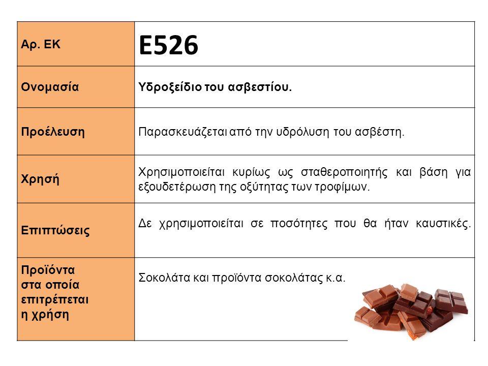 Αρ. ΕΚ Ε526 Ονομασία Υδροξείδιο του ασβεστίου. Προέλευση Παρασκευάζεται από την υδρόλυση του ασβέστη. Xρησή Χρησιμοποιείται κυρίως ως σταθεροποιητής κ