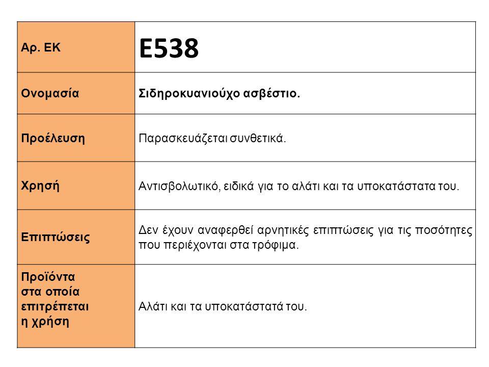 Αρ. ΕΚ Ε538 Ονομασία Σιδηροκυανιούχο ασβέστιο. Προέλευση Παρασκευάζεται συνθετικά. Xρησή Αντισβολωτικό, ειδικά για το αλάτι και τα υποκατάστατα του. Ε