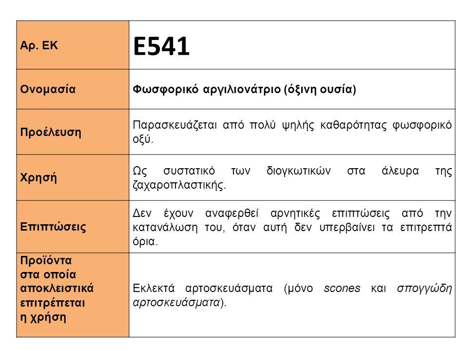 Αρ. ΕΚ Ε541 Ονομασία Φωσφορικό αργιλιονάτριο (όξινη ουσία) Προέλευση Παρασκευάζεται από πολύ ψηλής καθαρότητας φωσφορικό οξύ. Xρησή Ως συστατικό των δ