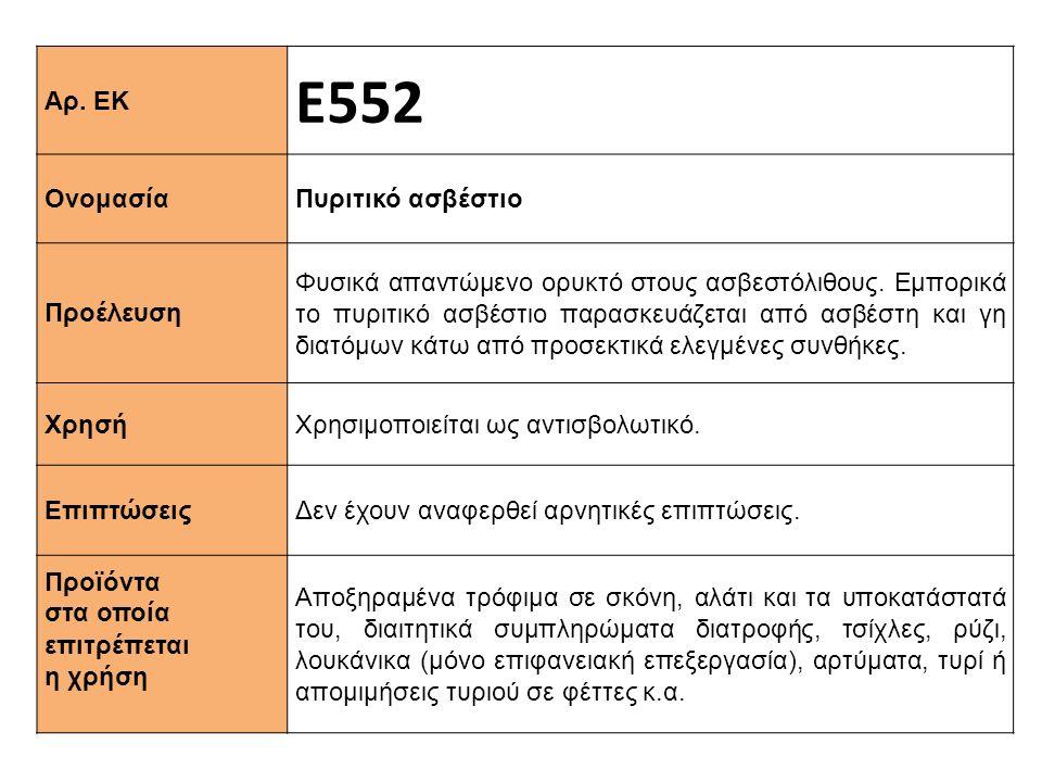 Αρ. ΕΚ Ε552 Ονομασία Πυριτικό ασβέστιο Προέλευση Φυσικά απαντώμενο ορυκτό στους ασβεστόλιθους. Εμπορικά το πυριτικό ασβέστιο παρασκευάζεται από ασβέστ